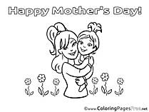 Daughter Flowers Mom Coloring Sheets Mother's Day free