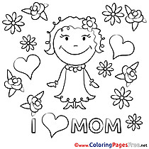 Daughter Flowers printable Coloring Pages Mother's Day