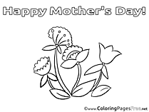 Flowers download Mother's Day Coloring Pages