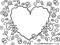 Flowers Heart Mother's Day Coloring Pages download