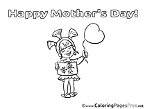 Gift Girl Mother's Day free Coloring Pages