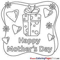 Gift Hearts Colouring Page Mother's Day free