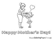 Gift Mother's Day Coloring Pages free