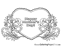 Heart Kids Mother's Day Holiday Coloring Page