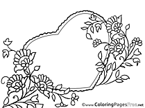 Holiday Heart Colouring Sheet download Mother's Day