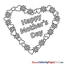 Holiday Heart Flowers Mother's Day free Coloring Pages