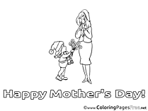 Kid Flowers Colouring Page Mother's Day free