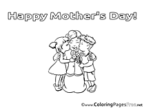 Kids Felicitation Mother's Day Coloring Pages