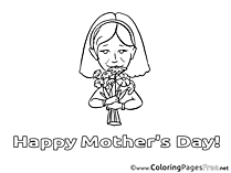 Mom Flowers Children Mother's Day Colouring Page