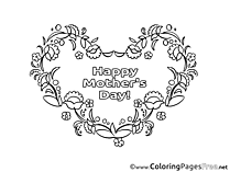 Mother's Day Heart Flowers Colouring Sheet free