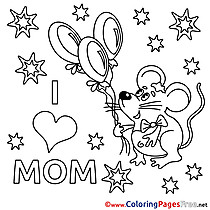 Mouse Balloons Colouring Page Mother's Day free