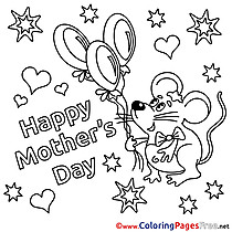 Mouse Holiday for Kids Mother's Day Balloons Colouring Page