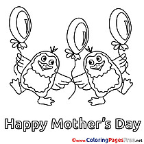 Penguins Balloons free Colouring Page Mother's Day