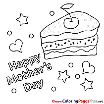 Piece of Cake Children Mother's Day Colouring Page