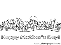 Poppies Flowers printable Coloring Pages Mother's Day