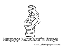 Pregnancy Mother's Day Coloring Pages download