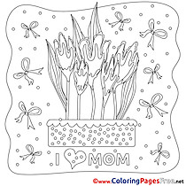 Ribbons Flowers Mother's Day Coloring Pages download
