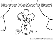 Tulips Colouring Sheet download Mother's Day