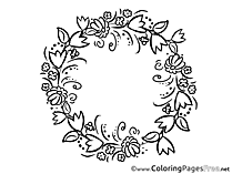 Wreath Felicitation free Mother's Day Coloring Sheets