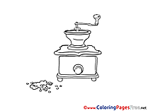 Coffee Mill free Colouring Page download