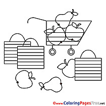 Supermarket Fruits Kids free Coloring Page