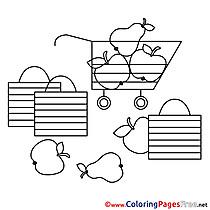 Supermarket Fruits Kids free Coloring Page