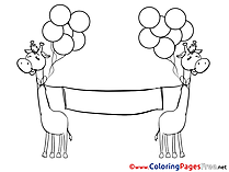Giraffes Banner Office Colouring Sheet download free