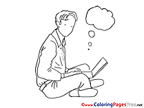 Laptop Man Colouring Sheet download free