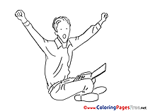 Laptop Man for Kids printable Office Colouring Page