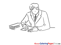 Office Worker free printable Coloring Sheets
