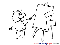 Piggy Office for free Coloring Pages download