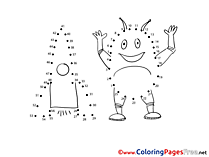 Alien Rocket Painting by Number Coloring Pages free
