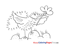 Bird Children Painting by Number Colouring Page