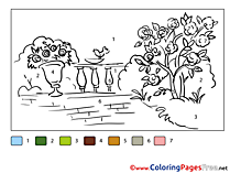 Blooming Garden printable Coloring Pages Painting by Number
