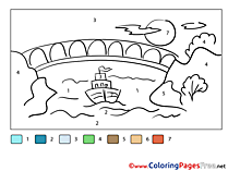 Bridge River Colouring Sheet Painting by Number