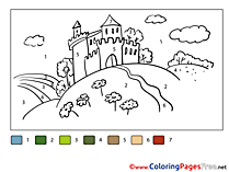 Castle Coloring Sheets Painting by Number free