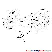 Chicken free Painting by Number Coloring Sheets