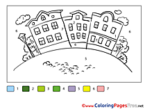 City Coloring Pages Painting by Number for free