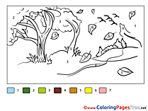 Forest Colouring Sheet download Painting by Number