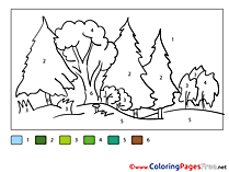 Forest Kids Painting by Number Coloring Pages