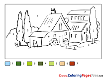 House Painting by Number free Coloring Pages