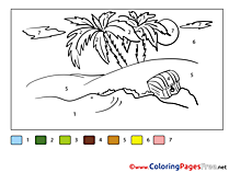 Island Coloring Sheets Painting by Number free