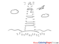 Lighthouse  Painting by Number Coloring Pages