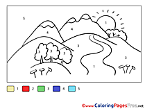 Mountains Children Painting by Number Colouring Page