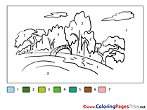 Nature download Painting by Number Coloring Pages