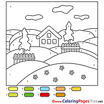 Painting by Number Farm printable Coloring Sheets