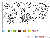 Park Painting by Number Coloring Pages download