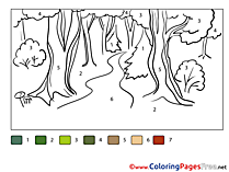 Pathway Painting by Number Coloring Pages free