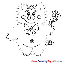 Pig Painting by Number free Coloring Pages