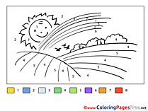 Rainbow Field free Painting by Number Coloring Sheets